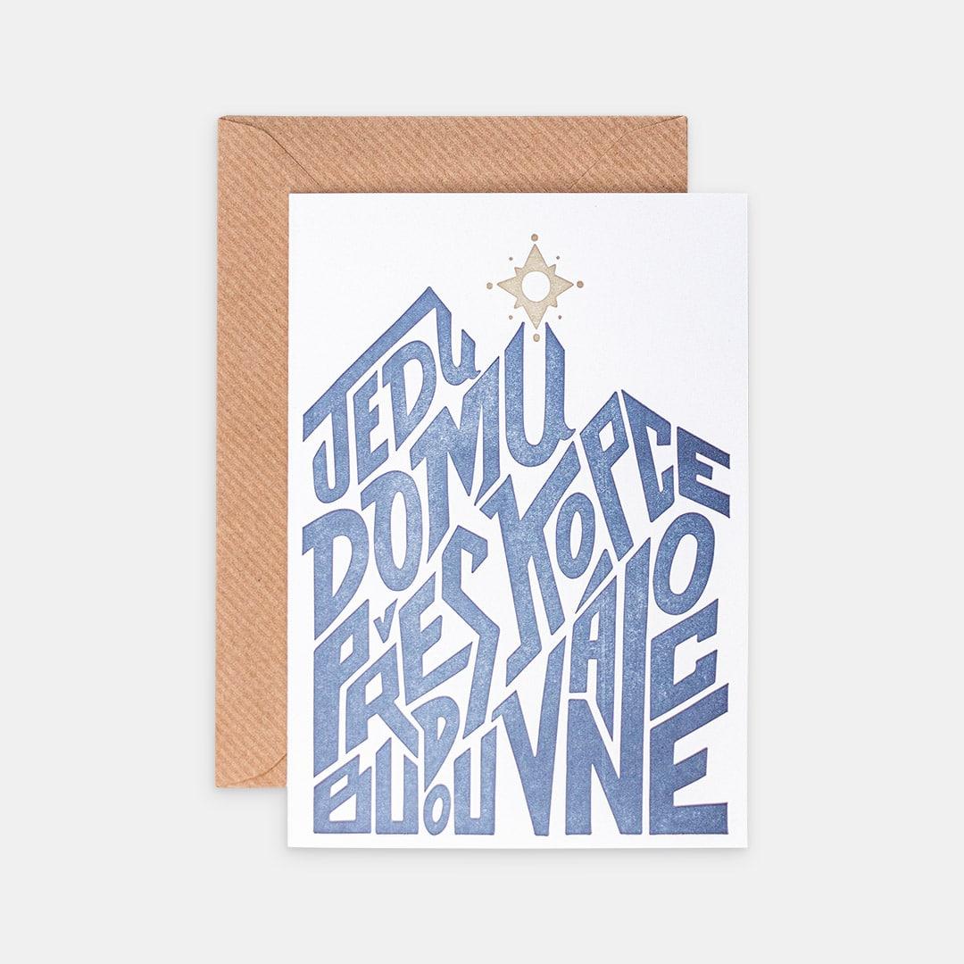 Tiskovna, letterpress, vánoční přání – kopce, hvězda