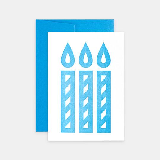 Tiskovna, letterpress, narozeninové přání svíčky, modrá