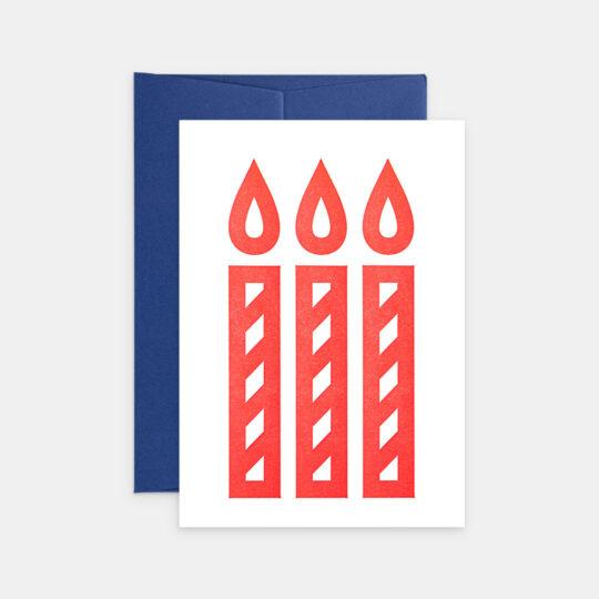 Tiskovna, letterpress, narozeninové přání svíčky, červená
