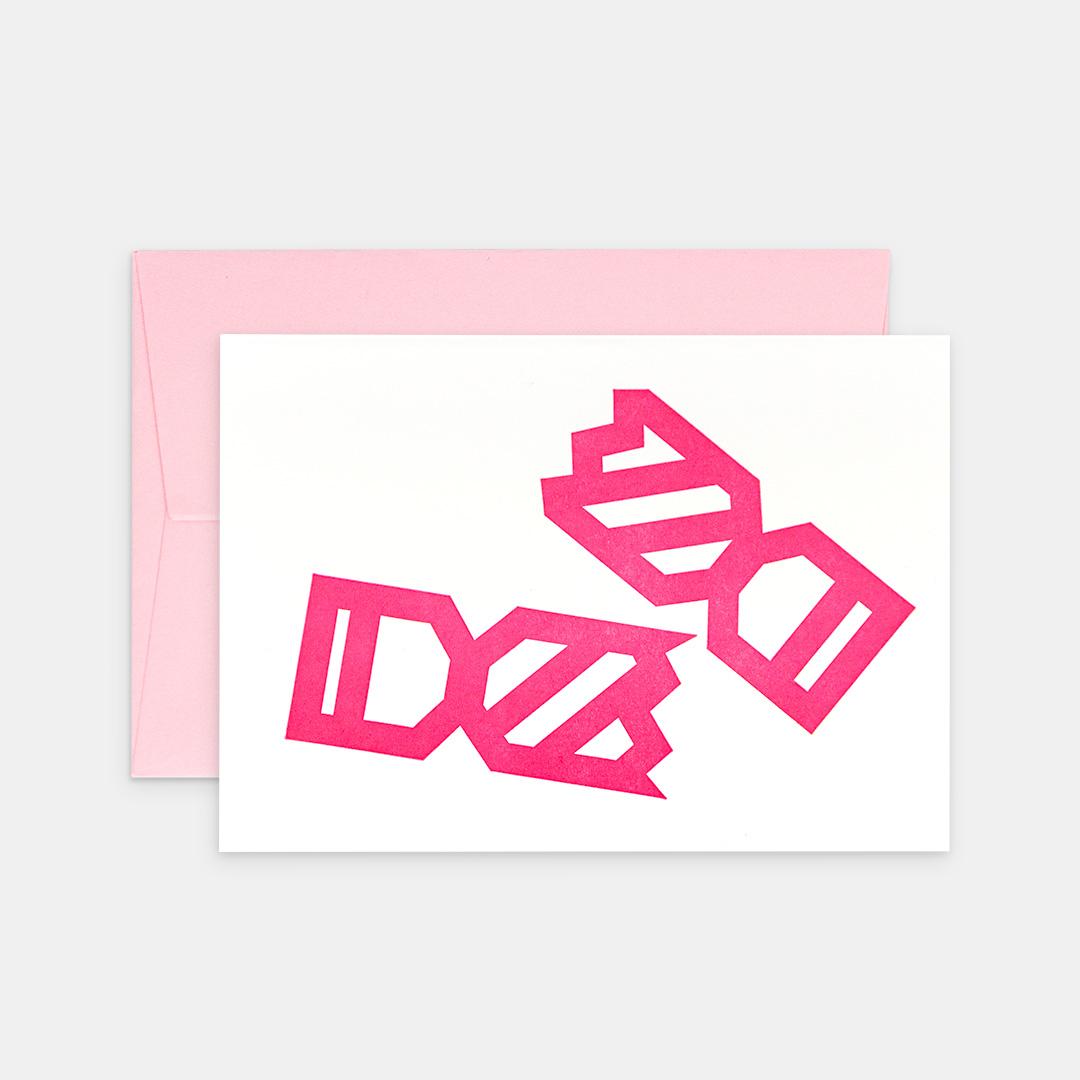 Tiskovna, letterpress, vánoční přání – bonbóny, růžová