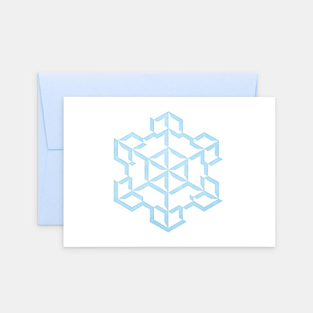 Tiskovna, letterpress, vánoční přání – vločka, azure