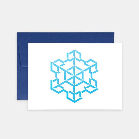Tiskovna, letterpress, vánoční přání – vločka, modrá
