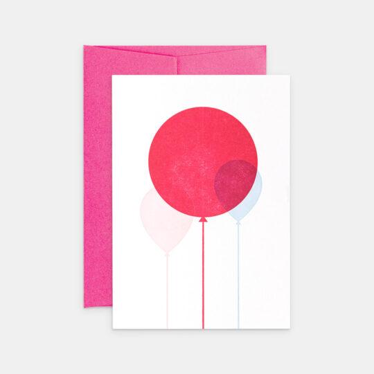 Tiskovna, letterpress, narozeninové přání s balónky, holka