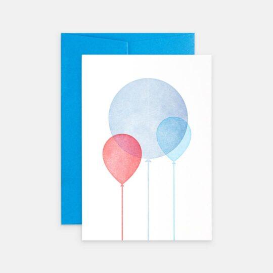 Tiskovna, letterpress, narozeninové přání s balónky, kluk
