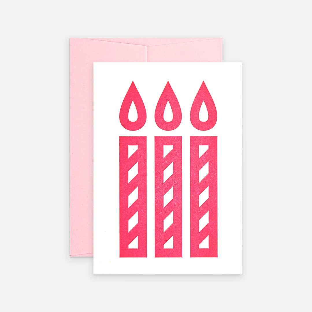 Tiskovna, letterpress, narozeninové přání svíčky, růžová
