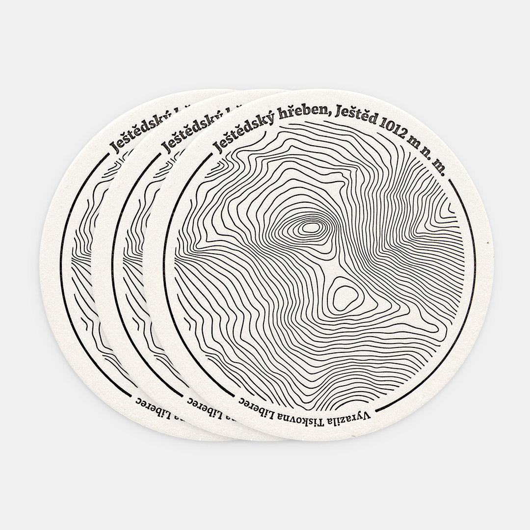 Tiskovna, letterpress, Ještědský hřeben, Ještěd, podtácek, tři