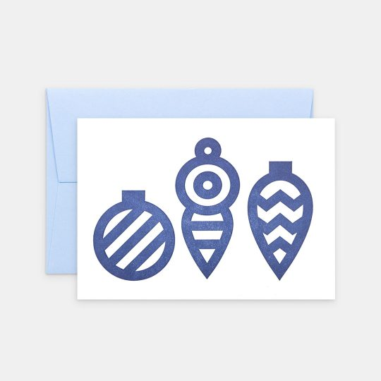 Tiskovna, letterpress, vánoční přání – ozdoby, modrá