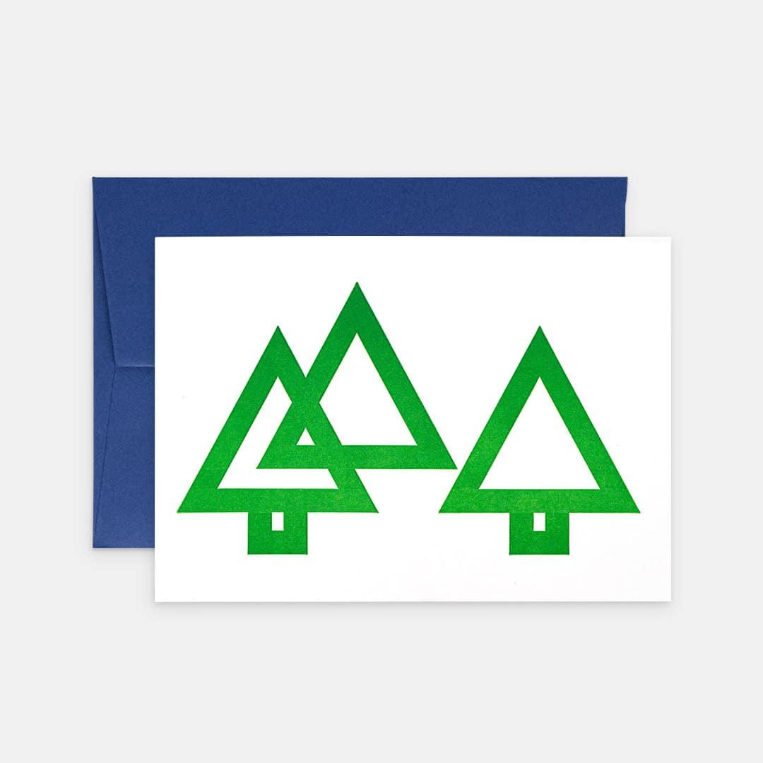 Tiskovna, letterpress, vánoční přání, stromky