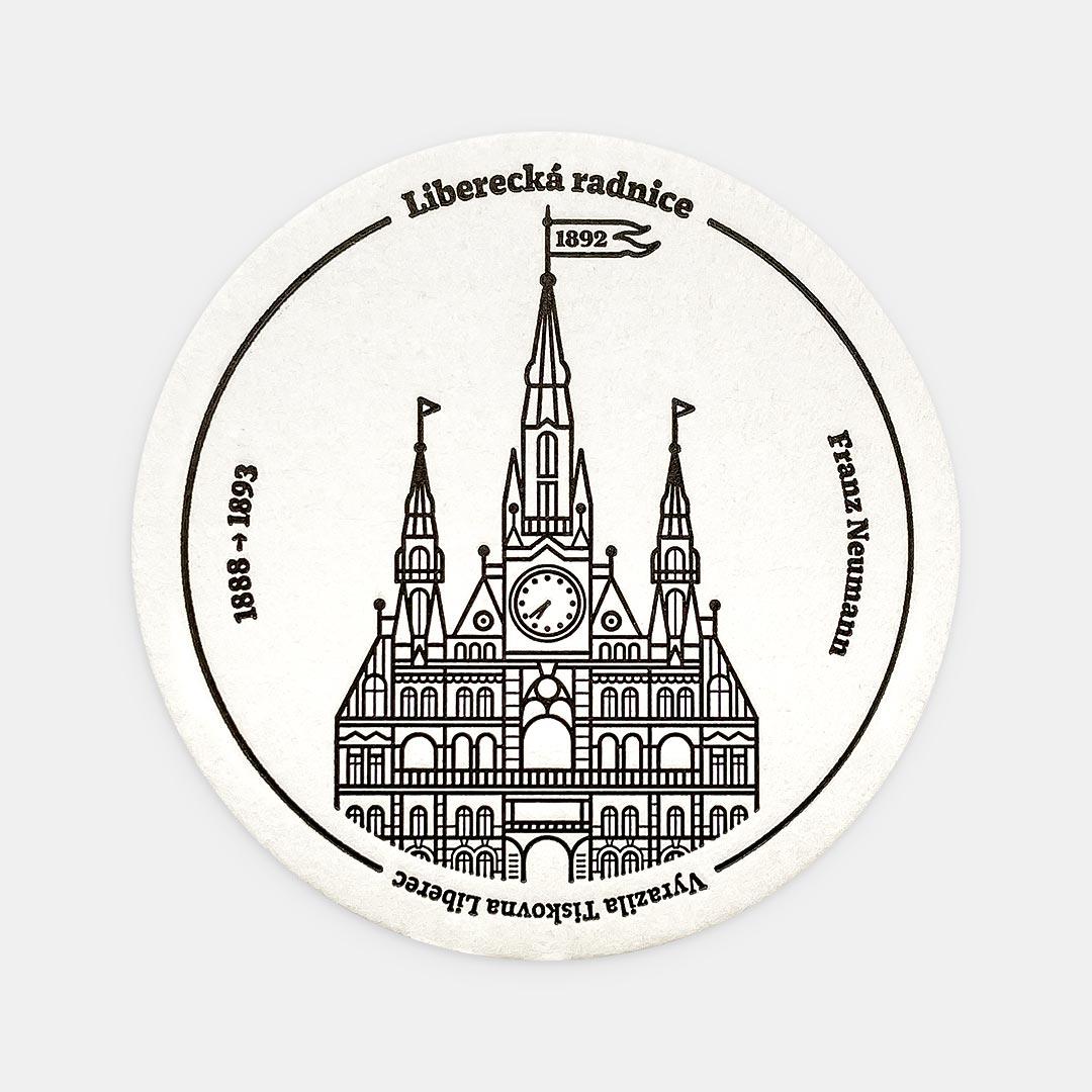 Tiskovna, letterpress, radnice Liberec, podtácek – černá