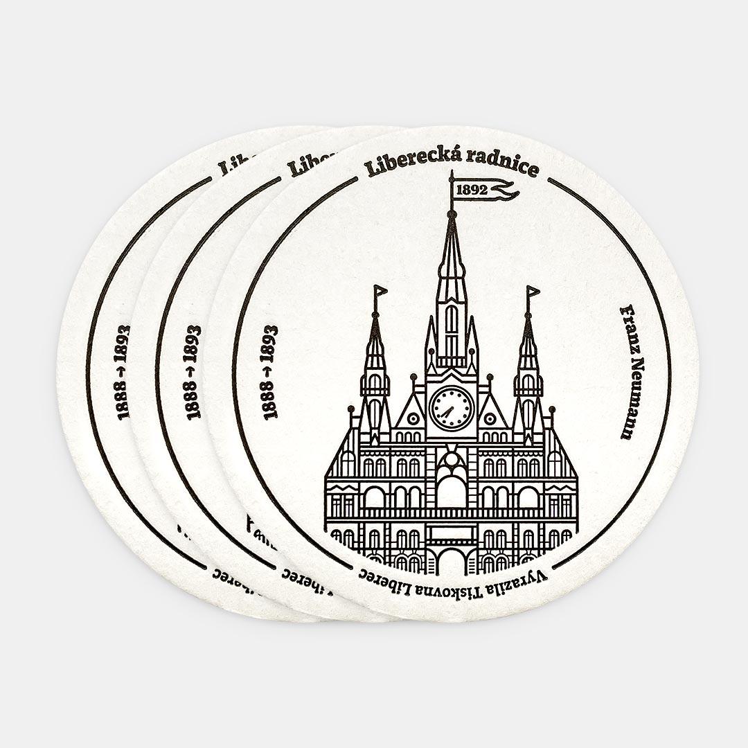 Tiskovna, letterpress, radnice Liberec, podtácek – černá, tři