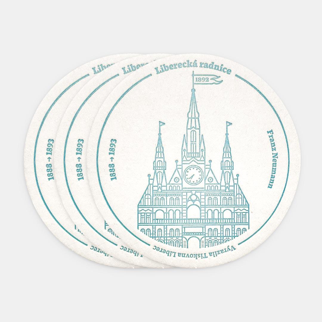 Tiskovna, letterpress, radnice Liberec, podtácek – modrá, tři