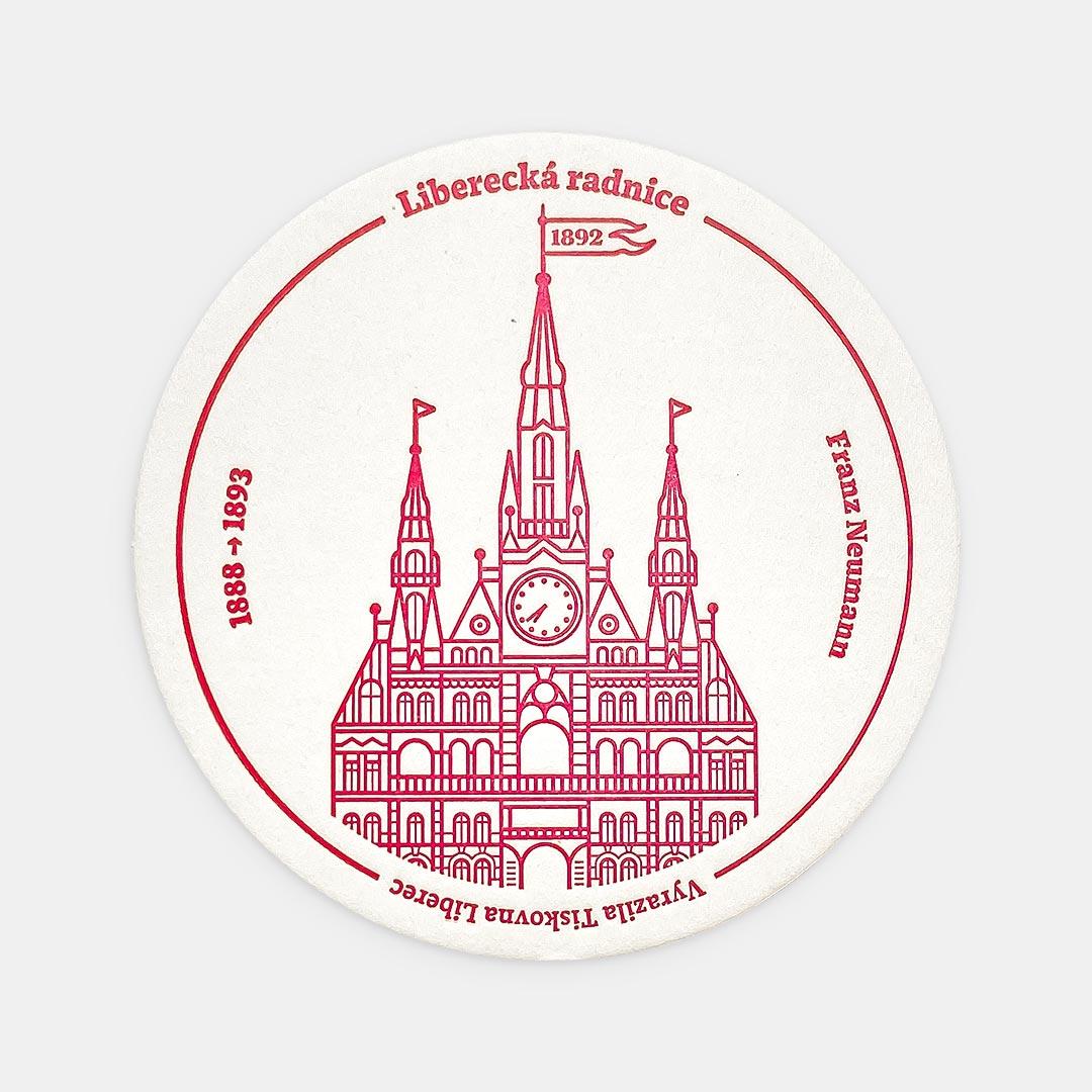 Tiskovna, letterpress, radnice Liberec, podtácek – červená