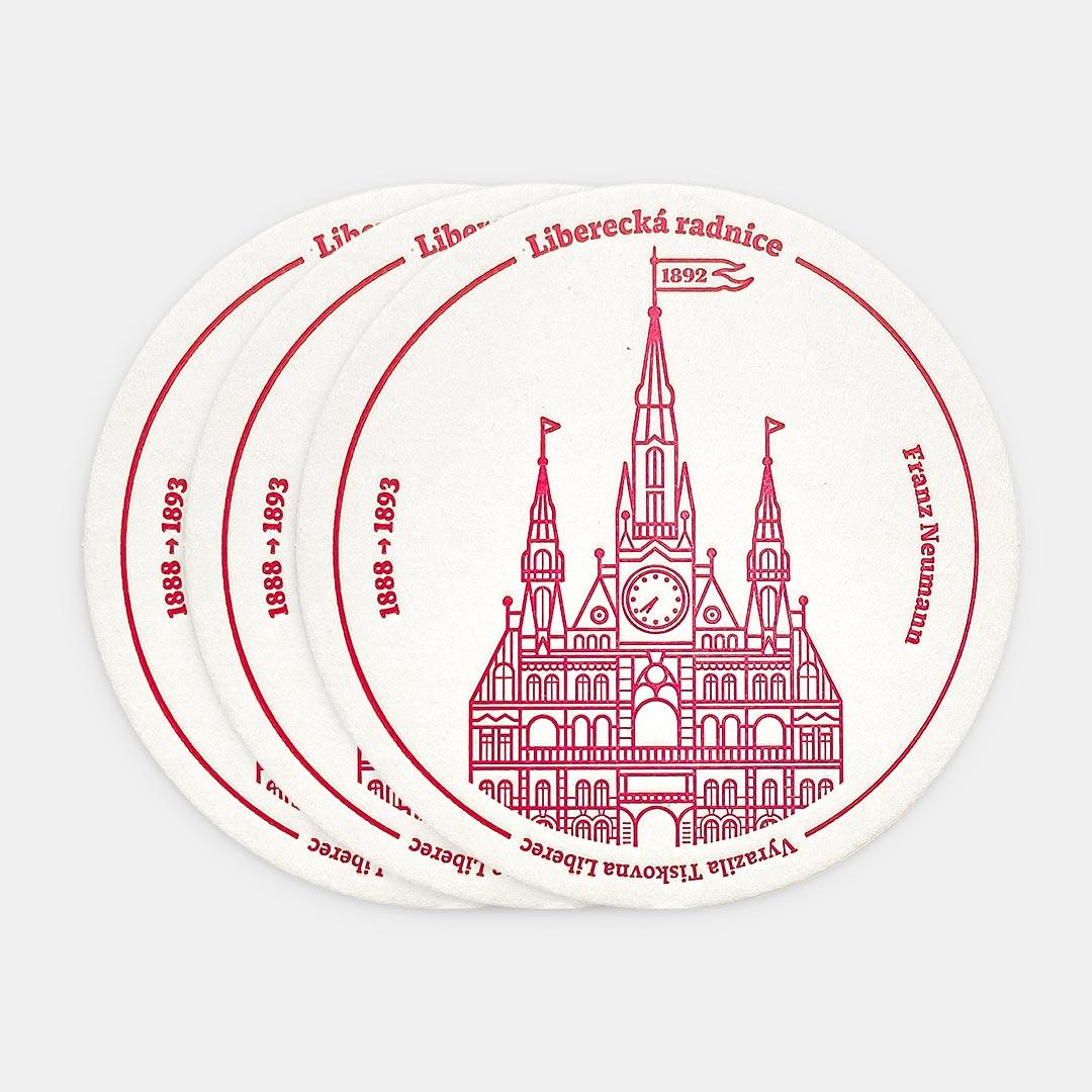 Tiskovna, letterpress, radnice Liberec, podtácek – červená, tři