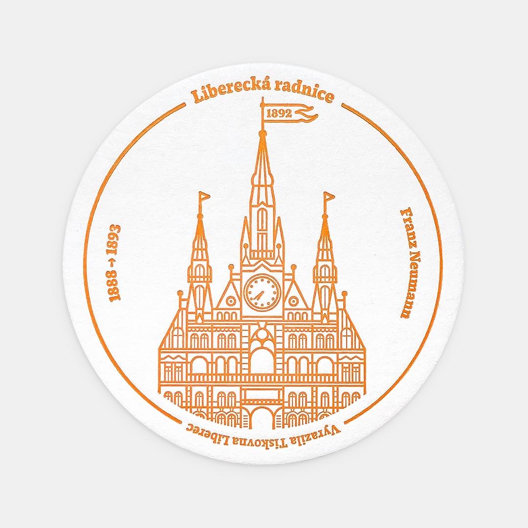 Tiskovna, letterpress, radnice Liberec, podtácek – oranžová