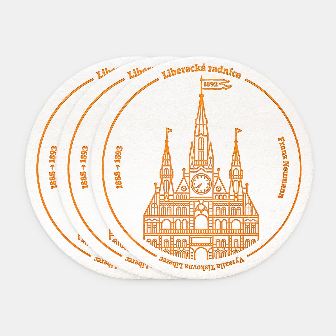 Tiskovna, letterpress, radnice Liberec, podtácek – žlutá