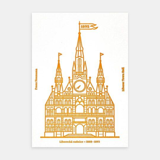 Tiskovna, letterpress, Severočeské muzeum, pohlednice – žlutá