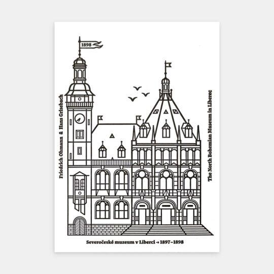 Tiskovna, letterpress, Severočeské muzeum, pohlednice – černá