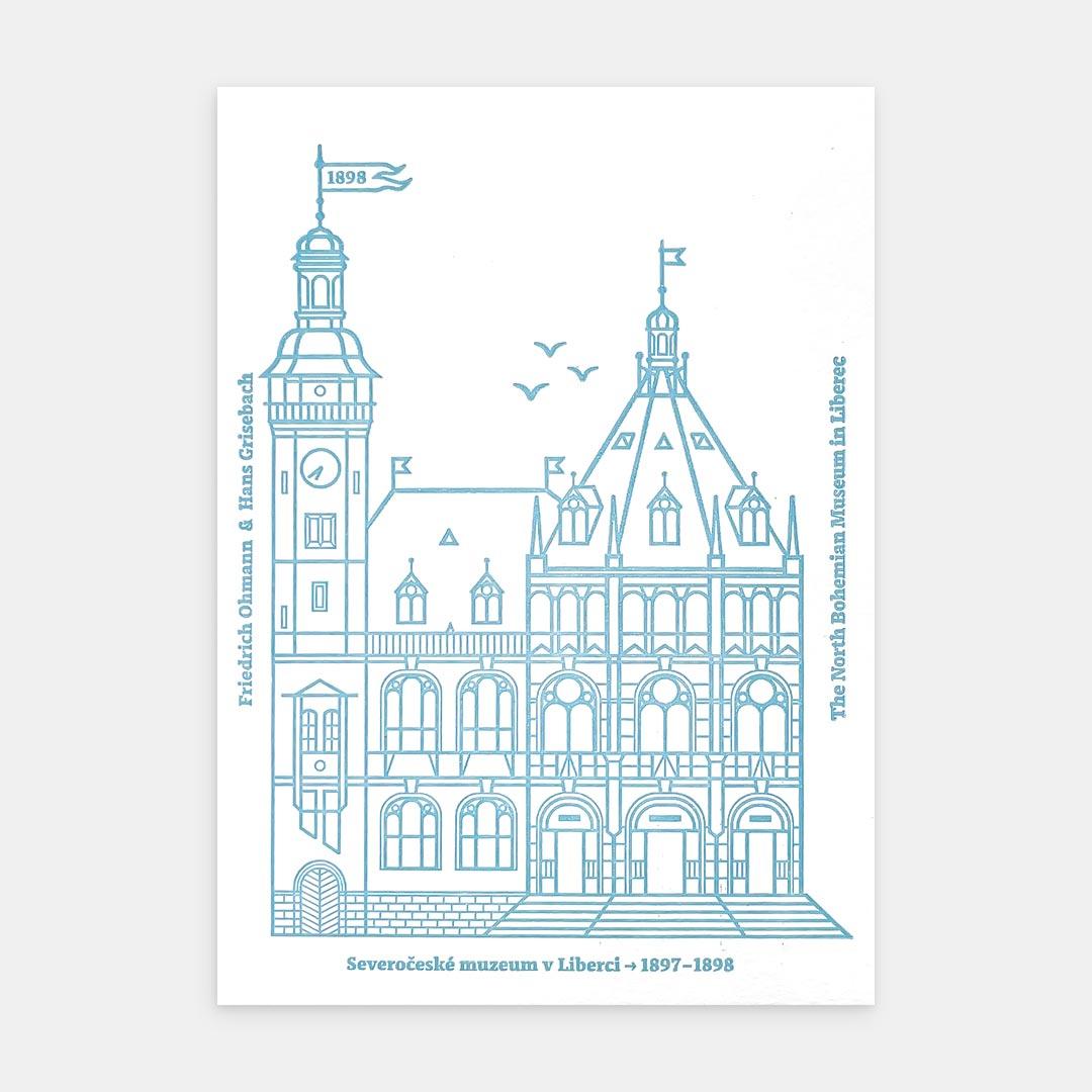 Tiskovna, letterpress, Severočeské muzeum, pohlednice – modrá