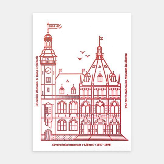 Tiskovna, letterpress, Severočeské muzeum, pohlednice – červená
